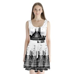 The Pier The Seagulls Sea Graphics Split Back Mini Dress