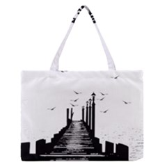 The Pier The Seagulls Sea Graphics Medium Zipper Tote Bag
