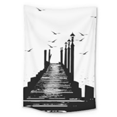 The Pier The Seagulls Sea Graphics Large Tapestry