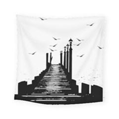 The Pier The Seagulls Sea Graphics Square Tapestry (small)