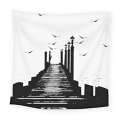 The Pier The Seagulls Sea Graphics Square Tapestry (large)