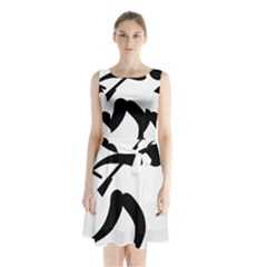 Biathlon Pictogram Sleeveless Chiffon Waist Tie Dress