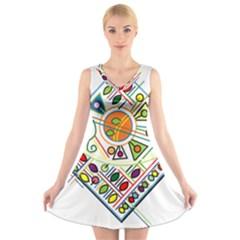 Vector Icon Symbol Sign Design V Neck Sleeveless Skater Dress