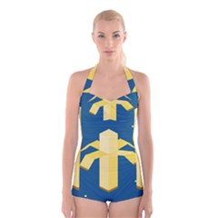 Banana Space Boyleg Halter Swimsuit