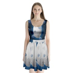 Blue Sky Cloud Star Moon Split Back Mini Dress