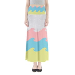 Wave Waves Pink Yellow Blue Maxi Skirts