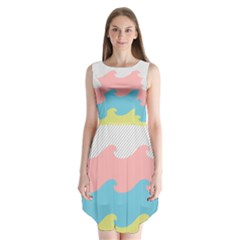 Wave Waves Pink Yellow Blue Sleeveless Chiffon Dress
