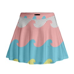 Wave Waves Pink Yellow Blue Mini Flare Skirt