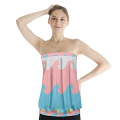 Wave Waves Pink Yellow Blue Strapless Top