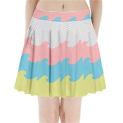 Wave Waves Pink Yellow Blue Pleated Mini Skirt
