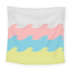 Wave Waves Pink Yellow Blue Square Tapestry (large)