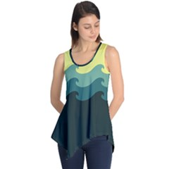Chevron Wave Water Sea Blue Yellow Sleeveless Tunic