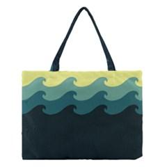 Chevron Wave Water Sea Blue Yellow Medium Tote Bag