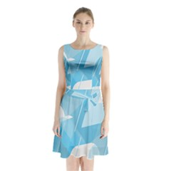 Blue Sky Sleeveless Chiffon Waist Tie Dress