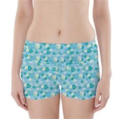 Blue Floral Flower Boyleg Bikini Wrap Bottoms