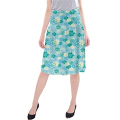 Blue Floral Flower Midi Beach Skirt