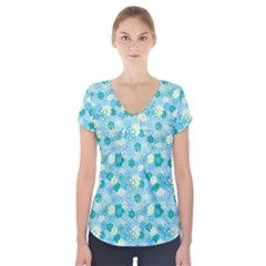 Blue Floral Flower Short Sleeve Front Detail Top