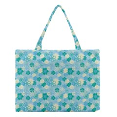 Blue Floral Flower Medium Tote Bag