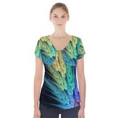 Abstract Fractal Short Sleeve Front Detail Top