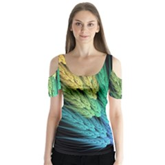 Abstract Fractal Butterfly Sleeve Cutout Tee