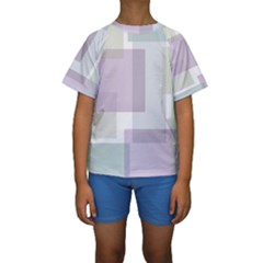 Abstract Background Pattern Design Kids  Short Sleeve Swimwear