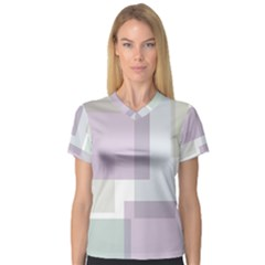 Abstract Background Pattern Design Women s V-Neck Sport Mesh Tee