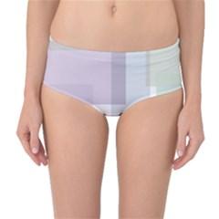 Abstract Background Pattern Design Mid Waist Bikini Bottoms