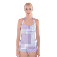 Abstract Background Pattern Design Boyleg Halter Swimsuit