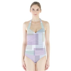 Abstract Background Pattern Design Halter Swimsuit