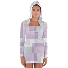 Abstract Background Pattern Design Women s Long Sleeve Hooded T Shirt
