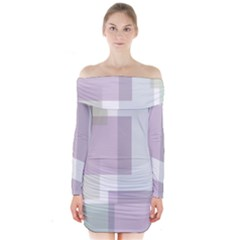 Abstract Background Pattern Design Long Sleeve Off Shoulder Dress