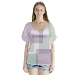 Abstract Background Pattern Design Flutter Sleeve Top