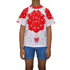 Abstract Background Balloon Kids  Short Sleeve Swimwear