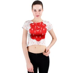 Abstract Background Balloon Crew Neck Crop Top