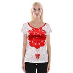 Abstract Background Balloon Women s Cap Sleeve Top