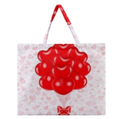 Abstract Background Balloon Zipper Large Tote Bag