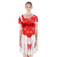 Abstract Background Balloon Short Sleeve V Neck Flare Dress