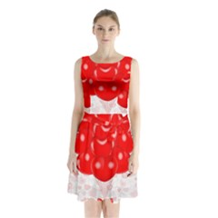 Abstract Background Balloon Sleeveless Chiffon Waist Tie Dress