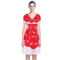 Abstract Background Balloon Short Sleeve Front Wrap Dress