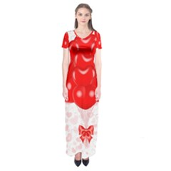 Abstract Background Balloon Short Sleeve Maxi Dress
