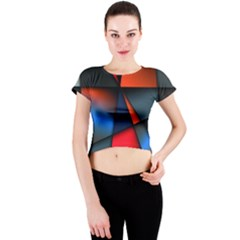 3d And Abstract Crew Neck Crop Top