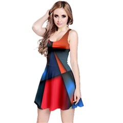 3d And Abstract Reversible Sleeveless Dress