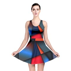 3d And Abstract Reversible Skater Dress