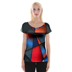 3d And Abstract Women s Cap Sleeve Top