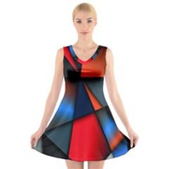 3d And Abstract V-Neck Sleeveless Skater Dress