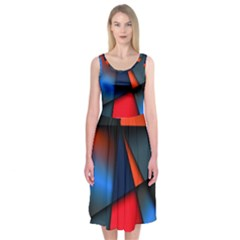 3d And Abstract Midi Sleeveless Dress