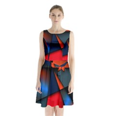 3d And Abstract Sleeveless Chiffon Waist Tie Dress