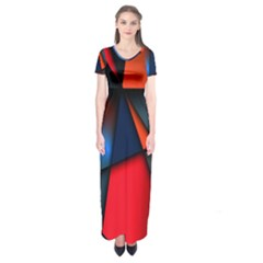 3d And Abstract Short Sleeve Maxi Dress