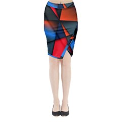 3d And Abstract Midi Wrap Pencil Skirt