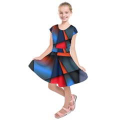 3d And Abstract Kids  Short Sleeve Dress